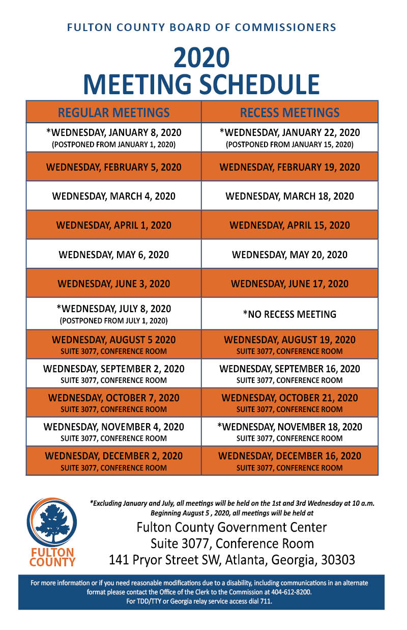 BOC Meeting Calendar dates and locations